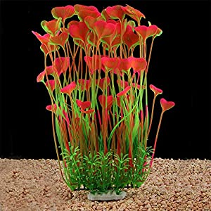 QUMY Large Aquarium Plants Artificial Plastic Fish Tank Plants Decoration Ornament Safe for All Fish 15.7 inch Tall 7.09 inch Wide 50