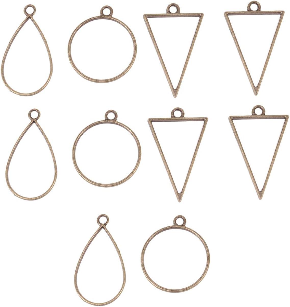Bronze Healifty 30 st/ücke Open Back l/ünette anh/änger wassertropfen geometrische runde Rahmen anh/änger Open Back Rahmen mit Schleife f/ür DIY schmuck Machen
