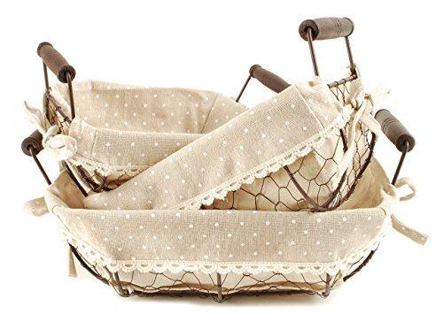 Oval Bowl Shaped Polka Dot Chicken Wire Nesting Baskets 8.5 x 12 Storage Set of 3