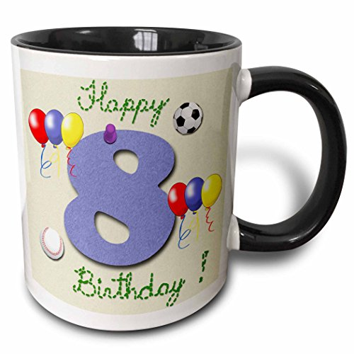 3dRose 777images Designs Text Art - Happy eighth birthday. Digital scrapbook design for boys with a blue felt looking number eight. - 15oz Two-Tone Black Mug (Scrapbook Mug)