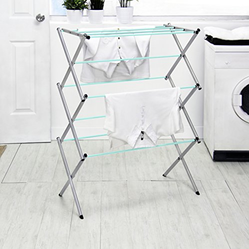 Vanderbilt Home Drying Rack in Silver/Mint Green Spindles -