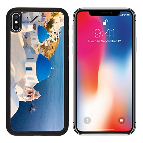 MSD Premium Apple iPhone X Aluminum Backplate Bumper Snap Case World famous traditional whitewashed chuches and houses of Oia village on Santorini IMAGE 33927602 - Whitewashed Buildings