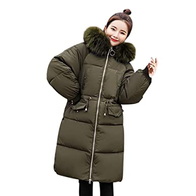 59d85c8ee0d8 Premium Wintermantel Daunenjacke Damen Übergangs Jacke Outwear Frauen  Winter Warm Daunenmantel mit Kapuze Steppjacke Leichte Haar Kragen Mantel  ...