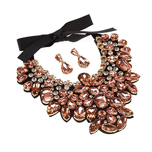 Holylove Peach Costume Statement Necklace with Earrings for Women Jewelry Fashion Necklace 1 Set with Gift Box-HLN8455E-Peach (Necklace Jewelry Costume Choker)