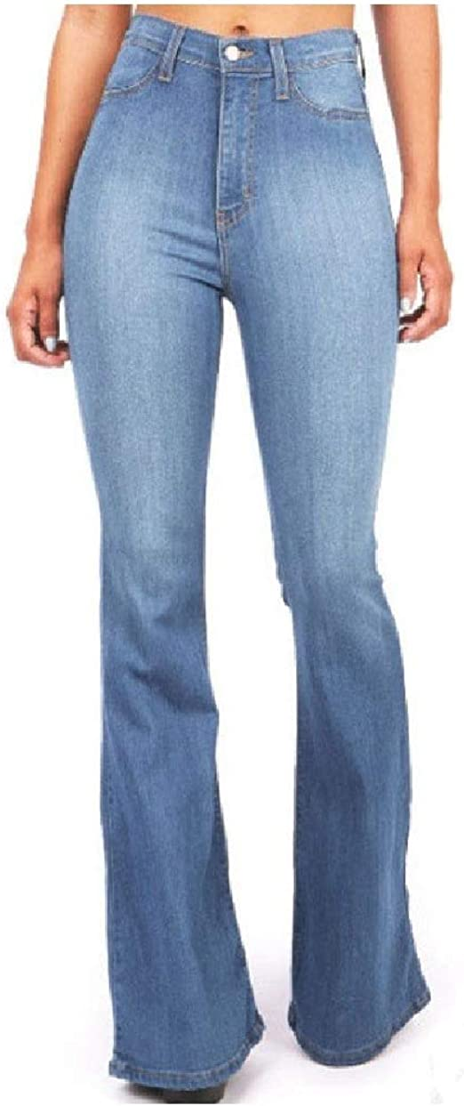 VITryst Women's Slim Flare Washed Faded Mid-waist Jeans Trousers