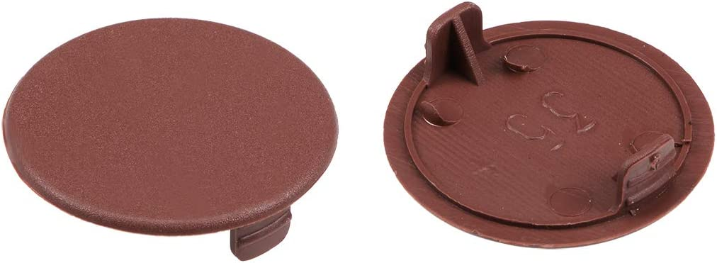 uxcell Screw Cap Cover,20Pcs 35mm Dia Brown Plastic Locking Hole Plug Button Top Flush Type for Cabinet Cupboard Shelf