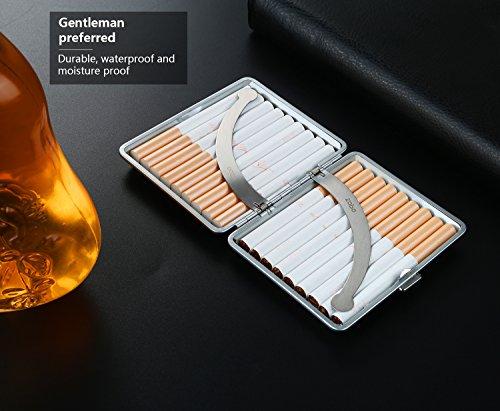 VVAY Zigarettenetui Leder, Elegant Zigarettenbox, Zigaretten Etui Box 18 Zigaretten, 95mm (Schwarz)