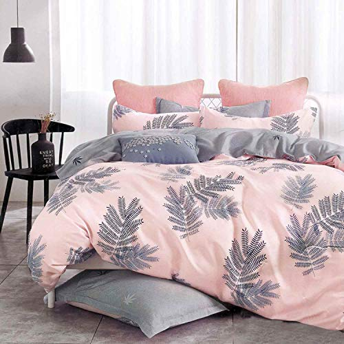 NANKO Coral Leaf Duvet Cover Queen Sets of 3, Size 90x90 inch Lightweight Microfiber Down Comforter Quilt Bedding Cover with Zipper Ties for -