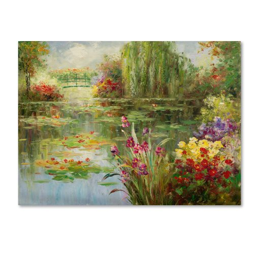 Water Lilies Artwork by Victor Giton, 35 by 47-Inch Canvas Wall Art