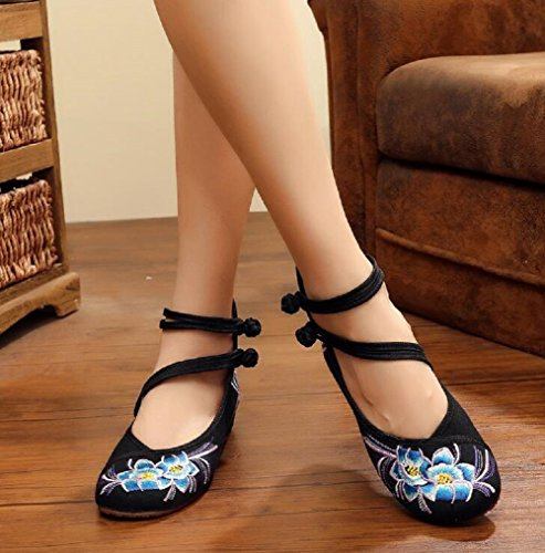 Lazutom Women Chinese Style Vintage Embroidery Rubber Sole Wedges Party Dress Shoes Black xkefGmJG7