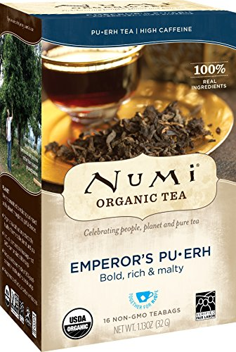 Numi Organic Tea Emperor's Pu-erh, 16 Count Box of Tea Bags, Black Tea (Packaging May Vary)