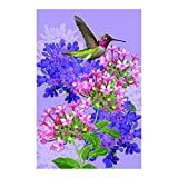 Garden Flags Coloful Hydrangea Lovely Hummingbird Pink Purple Anf White Outdoors Flags Of Double Sided Waterproof And Fade Resistant Printed banners 28 X 40 Inch 100% Polyester