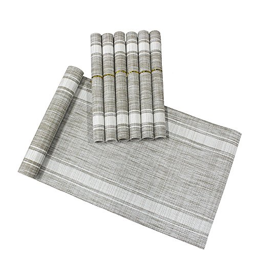 Lavin Placemat Set of 6 and Table Runner Set Waterproof Place Mat Heat-Resistant Tablerunner for Dining Table Kitchen Decoration PVC Vinyl Satin Resistant Washable Heavy Duty Placemats (White)