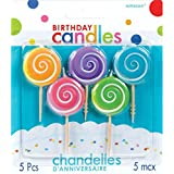 """Party Time Molded Lollipops Birthday Toothpick Candles, Pack of 5, Sky Blue,Pink,Yellow,Puple,Green , 2.5"""" Wax, Toothpick"""