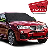 Fedciory Car Windshield Snow Cover,4-Layer Protection&Double Side Design,Snow, Ice, Frost,UV Full Protection,Extra Large & Thick for Most Vehicle(88