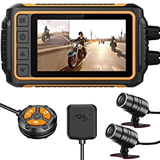 ZOMFOM Dash Cam Waterproof Recording Camera for Motorcycle, 3'' LCD Front and Rear FHD 1080P Waterproof Lens Wide Angle 150° with Wi-Fi, GPS, Wired Control, EIS and G-Sensor, Max up to 256GB
