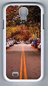 Autumn in City Polycarbonate Hard Case Cover for Samsung Galaxy S4/Samsung Galaxy I9500 White
