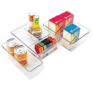 mDesign Juego de 3 organizadores de Cocina - Caja de almacenaje ...