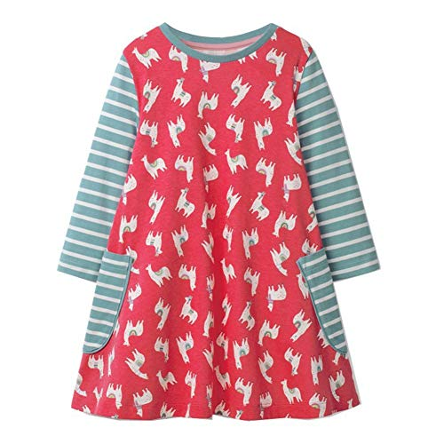 HILEELANG Toddler Girl Dress Stripe Long Sleeve Autumn Winter Cotton Basic Dress 1-7 Year ()