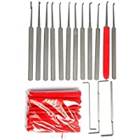 LSHI 12pce Stainless Steel Lock Pick Set Lockpick Locksmith Tools Professional Extractor Tools (A)