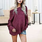 d55538da3f33d1 Exlura Women s Off Shoulder Batwing Sleeve Loose Oversized Pullover Sweater  Knit Jumper
