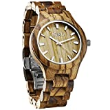JORD Wooden Wrist Watches for Men or Women - Fieldcrest Series / Wood Watch Band / Wood Bezel / Analog Quartz Movement - Includes Wood Watch Box (Zebrawood & Maple)