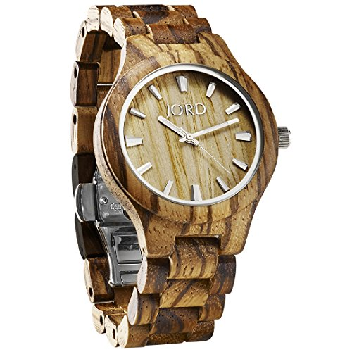 JORD Wooden Wrist Watches for Men or Women - Fieldcrest Series / Wood Watch Band / Wood Bezel / Analog Quartz Movement - Includes Wood Watch Box (Zebrawood & Maple) by Jord