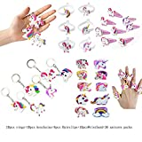 Fineder 36PCS Rainbow Unicorn Birthday Party Favor Set, Unicorn Bracelets, Keychains, Rings, Hair Clips, Unicorn Party Supplies Novelty Toy, Party Games Gift