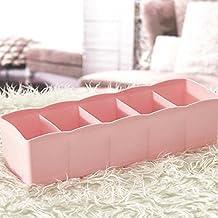Multi-function Desktop Drawer Storage Box Clothing Organizer Five Grid Storage Box Underwear Socks Bra Ties Organizer Pink color