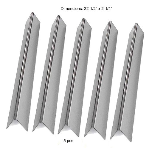 Aftermarket replacements 7536, 7537 Genesis Silver B and C, Spirit 700, Gold B & C, Genesis Platinum B & C and Weber 900 Stainless Steel Flavorizer Bars, Set of 5 (22.5