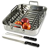 Culina Oven to Stove 16 Roaster Pan Tri-ply Stainless Steel with Non-stick Roasting Rack and Bonus Carving Set.