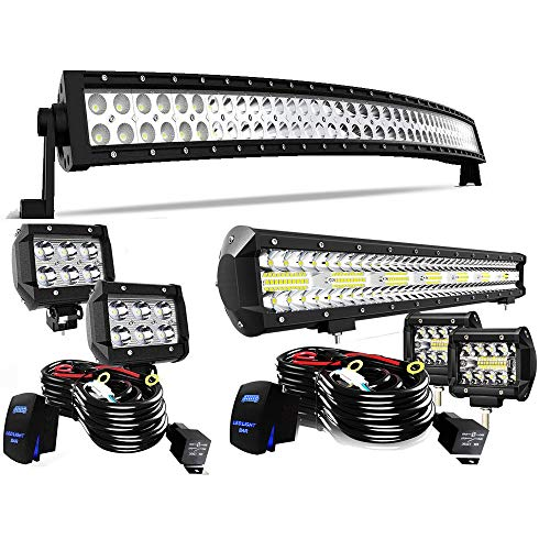 Led Light Bar T-Former 42Inch Curved Light Bars + 20Inch Triple Row Combo LED Light Bars Kit + 4Pcs 4in Offroad Driving Fog Lights W/Rocker Switch Wiring Harness Kit for Jeep Tucks Polaris Boats