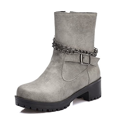 Women's Solid Heels Gray Top AmoonyFashion Kitten Zipper Soft Boots Material Low BRdBH