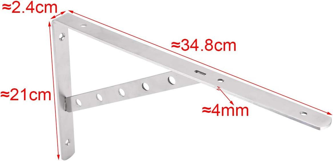 340mm x 210mm x 24mm 2pcs Soportes de Estantes Baldas de /ángulo tri/ángulo Acero Inoxidable Soportes de Esquina de Apoyo Soporte de Pared
