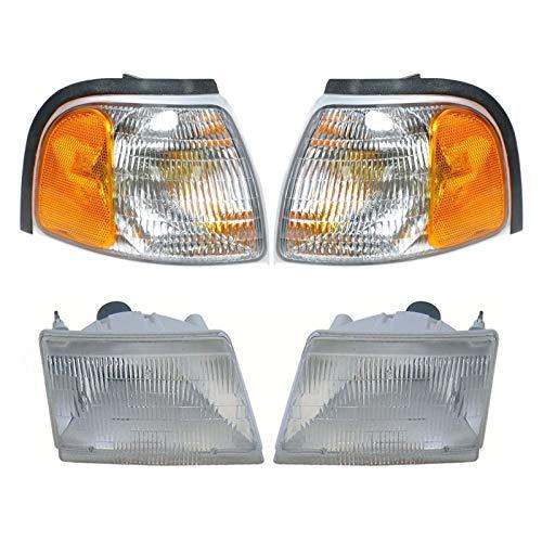 Headlight Parking Light Lamp LH RH 4 Piece Kit Silver for Mazda Pickup Truck