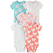 Carter's Baby Girls 5 Pack Bodysuit Set, Butterfly Elephant, 6 Months
