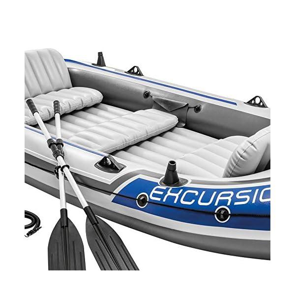 51MSW fJolL Intex Excursion 5 Set Schlauchboot - 366 x 168 x 43 cm - 4-teilig - Grau / Blau