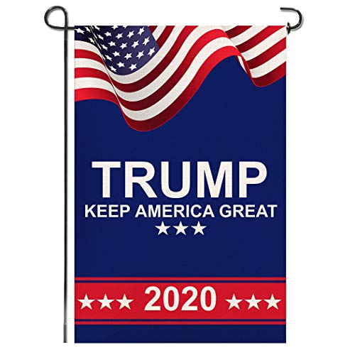 Shmbada American President Donald Trump 2020 Make Keep US America Great Burlap Garden Flag, Double Sided Premium Fabric, US Election Patriotic Outdoor Decoration Banner for Yard Lawn, 12.5