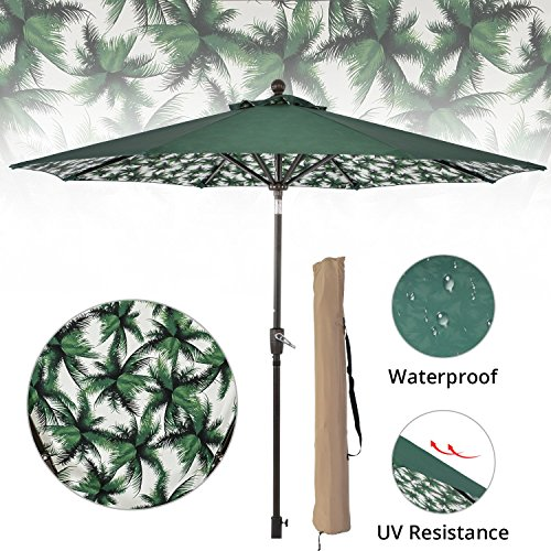 LCH 9ft Outdoor Umbrella Patio Backyard Deck Table Umbrella with Sturdy Pole, 8 Ribs, Crank Open, Push Button Tilting, Dark Red, Novelty Design (Green-CoastTree) Review