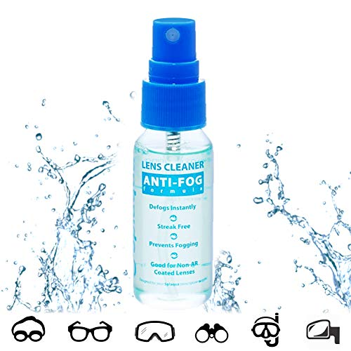 Anti Fog Spray Eyeglass Lens Cleaner, Long Lasting Defogger For Glasses, Goggles, Ski Masks Mirrors and Windows (1 Pack), 1 Oz ()