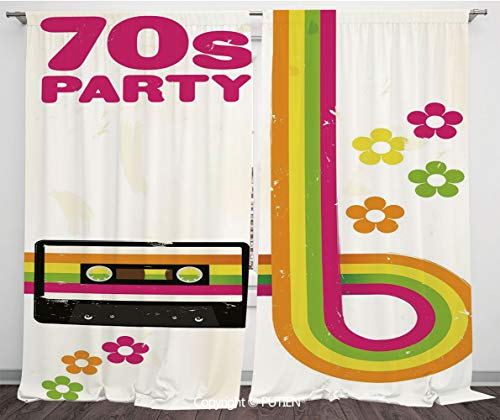 Satin Window Drapes Curtains [ 70s Party Decorations,Party Flyer Inspired Cute Curved Stripes Daisies Audio Cassette Tape Decorative,Multicolor ] Window Curtain Window Drapes for Living Room Bedroom D