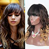RosesAngel 1B/4/27 Human Hair Wigs with Bangs Glueless Lace Front Bangs for Black Women Full Lace Wigs Human Hair with Baby Hair 14'' Lace Front Wig