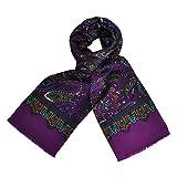 TOUTACOO, CARVEN Men's 100% Silk Scarf Paisley - Purple