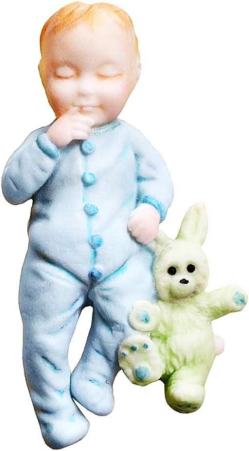 Resina Gesso Stampo Silicone Bambino con Coniglietto di Peluche Idea Regalo Natale e Compleanno Calchi in Silicone Sapone Stampino per Uso Artigianale