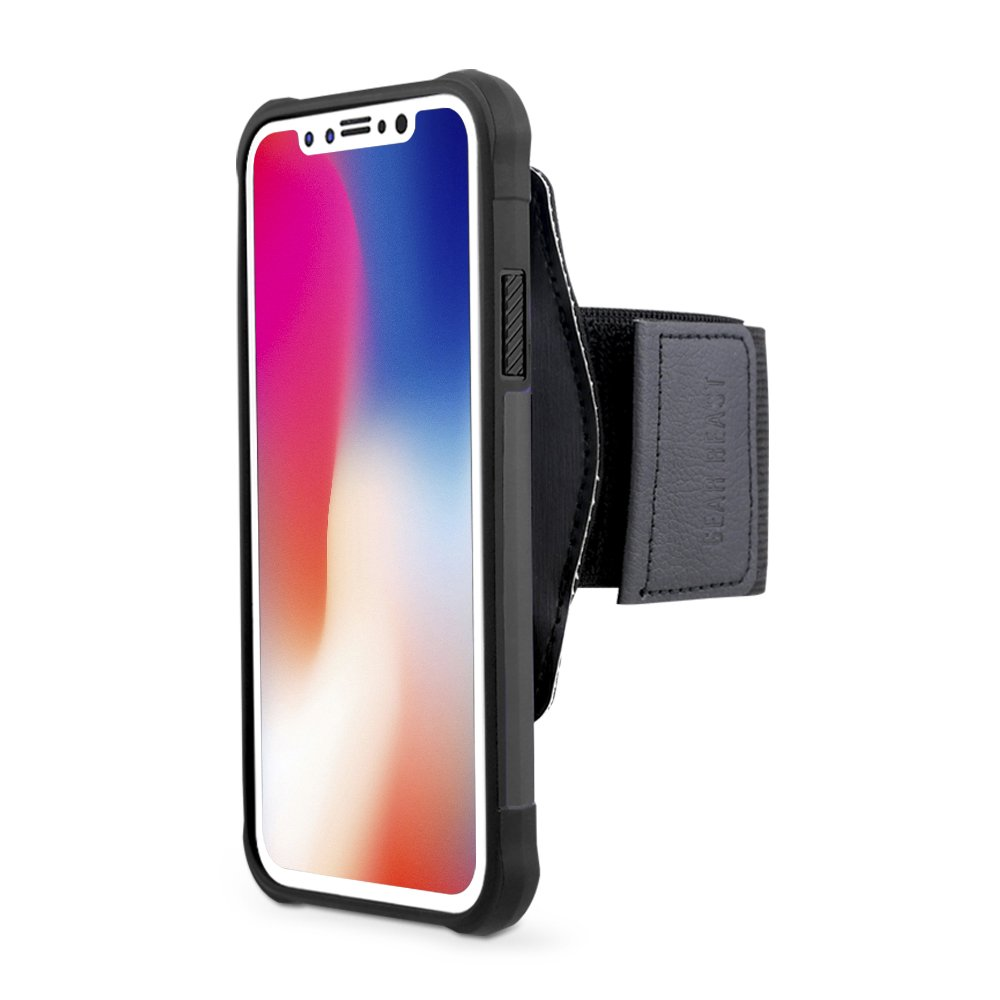 Gear Beast Sports Armband With Detachable Case For Apple iPhone X, Cell Phone Holder For Running Jogging Workout Fitness, Waterproof Band, Key Pocket, Secure Phone Mount System, Bonus Screen Protector
