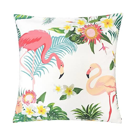 Homey Cozy Outdoor Accent Pillow Cover,Flamingo Paradise Large Water/UV/Stain-Resistance Tropical Decorative Replacement Cushion Cover 20x20, Cover Only - Summer Time | A charming pillow is just the thing to brighten up a room or refresh your style-inside or outdoors. Crafted from 100% polyester, this reversible pillow showcases a bright and fun floral motif in a selection of summery watercolor hues. Weather Resistant | Add some color to your patio set with these water resistant outdoor pillows. Made out of 100% Solarium Polyester fabric, it is mold and mildew resistant as well as fade and stain resistant Skin Friendly | Even with the protective coating, the outdoor pillow covers still feel nice and soft to make for incredibly cozy lounging out on the patio or indoors. - patio, outdoor-throw-pillows, outdoor-decor - 51MSWszvJYL. SS570  -