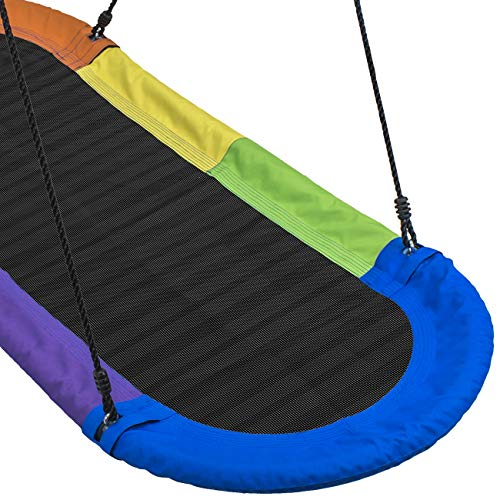 Sorbus Saucer Swing Surf – Kids Indoor/Outdoor Giant Oval Platform Swing Mat – Great for Tree, Swing Set, Backyard, Playground, Playroom – Accessories Included – Multi-Color Rainbow (Oval Surf Swing) by Sorbus (Image #5)