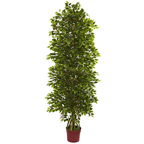 Nearly Natural Artificial UV Resistant 6' Four Tier Mini Ficus Tree (Indoor/Outdoor) Green