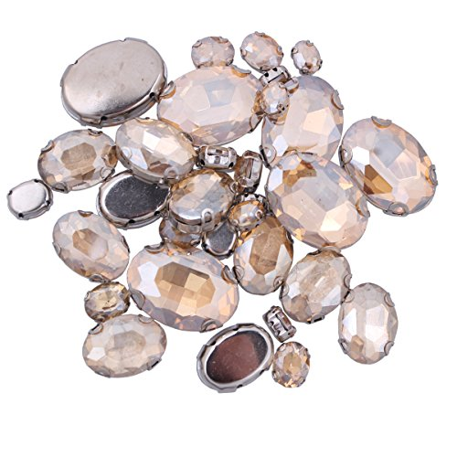 ZIJING 70pcs Mixed Small Big Size Silver Brass Metal Setting Champagne Gold Oval Facets Sew On Crystal Rhinestones Gems Beads with 4 Holes for Sew On (Champagne Gold Mix Size-70pcs)