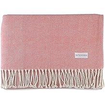 Sferra Celine Herringbone, 100% Cotton Throw Blanket - Salmon